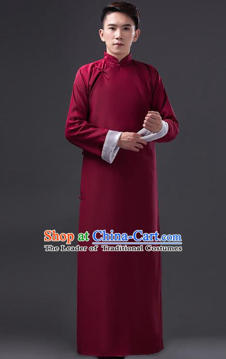 Traditional Chinese Republic of China Costume Wine Red Long Gown, China National Comic Dialogue Clothing for Men