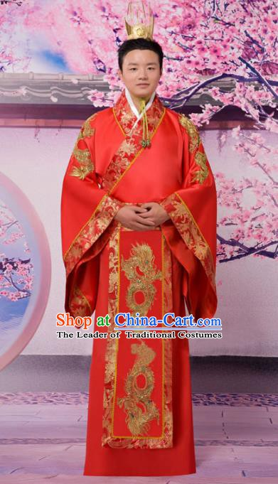 Traditional Chinese Han Dynasty Bridegroom Wedding Costume, China Ancient Chancellor Hanfu Embroidered Clothing for Men