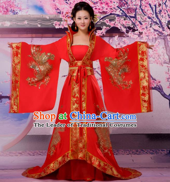 Traditional Chinese Tang Dynasty Imperial Concubine Costume, China Ancient Palace Lady Embroidered Trailing Dress Clothing for Women
