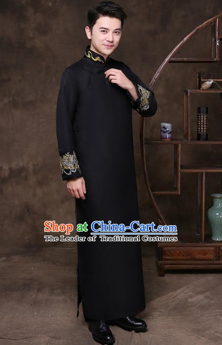 Traditional Chinese Republic of China Wedding Costume Black Long Gown, China National Comic Dialogue Embroidered Clothing for Men