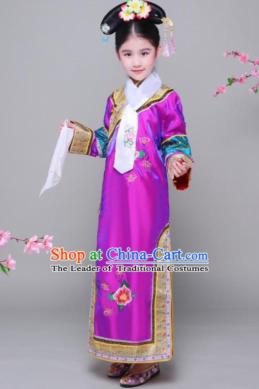 Traditional Ancient Chinese Qing Dynasty Princess Purple Costume, Chinese Manchu Lady Embroidered Clothing for Kids