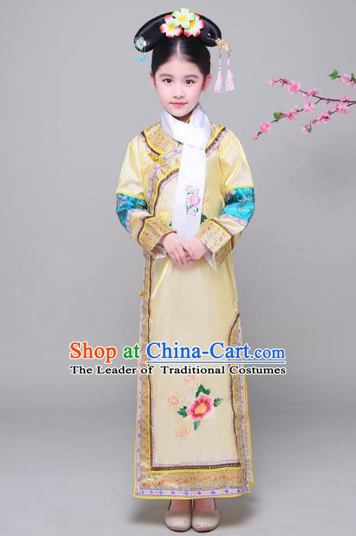 Traditional Ancient Chinese Qing Dynasty Princess Yellow Costume, Chinese Manchu Lady Embroidered Clothing for Kids