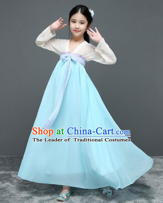 Traditional Chinese Ancient Princess Hanfu Clothing, China Tang Dynasty Palace Lady Costume for Kids