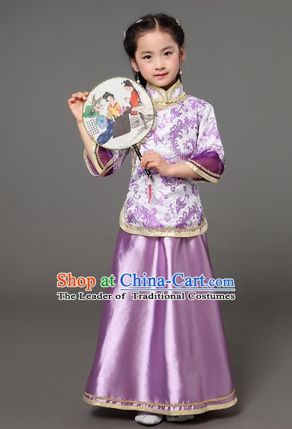 Traditional Chinese Republic of China Children Xiuhe Suit Clothing, China National Embroidered Purple Cheongsam Blouse and Skirt for Kids