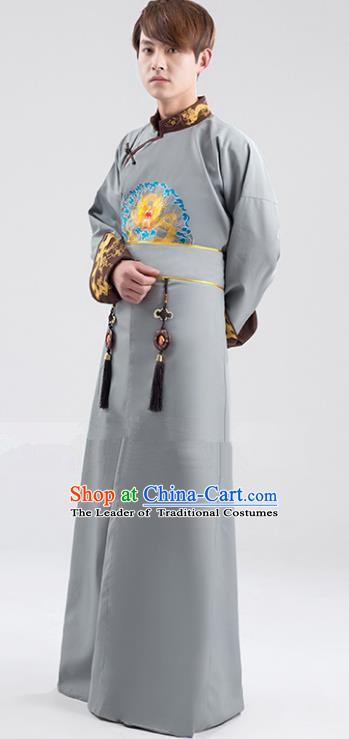 Traditional Ancient Chinese Qing Dynasty Prince Costume, China Manchu Nobility Childe Grey Embroidered Robe Clothing for Men