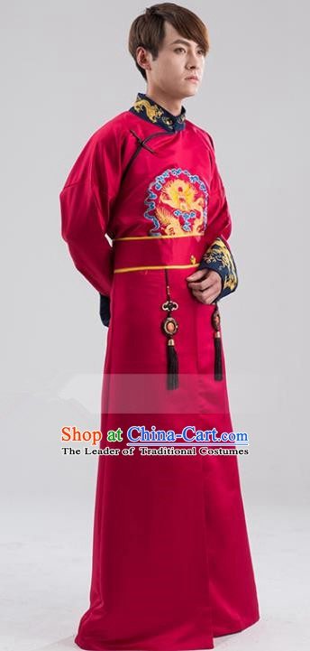 Traditional Ancient Chinese Qing Dynasty Prince Costume, China Manchu Nobility Childe Red Embroidered Robe Clothing for Men