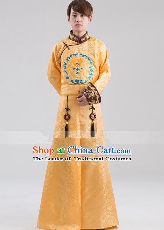 Traditional Ancient Chinese Qing Dynasty Prince Costume, China Manchu Nobility Childe Yellow Embroidered Robe Clothing for Men