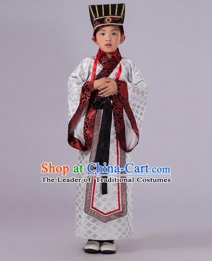 Traditional Chinese Han Dynasty Prime Minister White Costume, China Ancient Chancellor Hanfu Clothing for Kids
