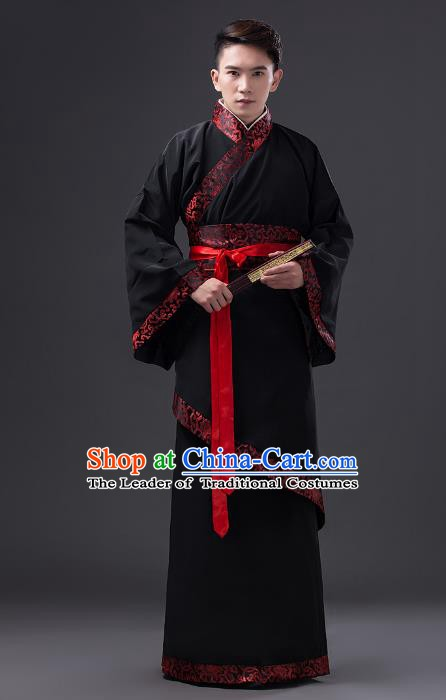 Traditional Chinese Han Dynasty Prime Minister Costume, China Ancient Chancellor Hanfu Black Clothing for Men