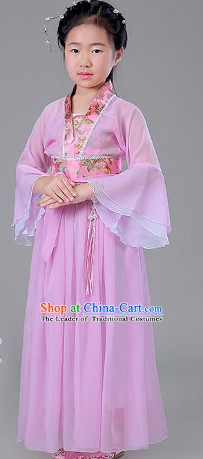 Traditional Chinese Tang Dynasty Princess Costume, China Ancient Fairy Embroidered Pink Dress Clothing for Kids
