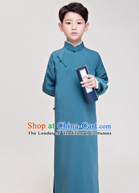 Traditional Chinese Republic of China Costume Blue Long Robe, China National Comic Dialogue Clothing for Kids