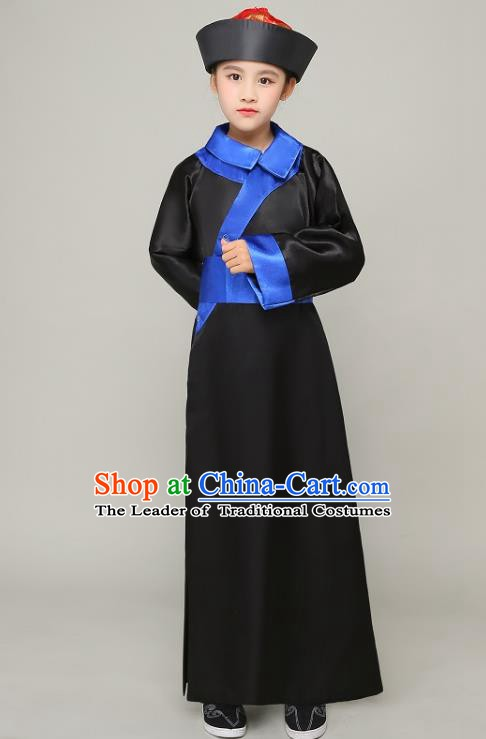 Traditional Chinese Qing Dynasty Court Eunuch Costume, China Manchu Imperial Bodyguard Black Mandarin Robe for Kids