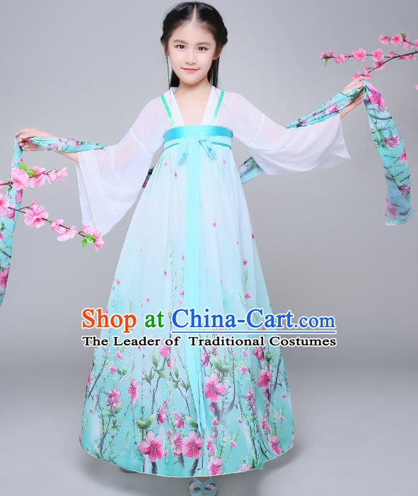 Traditional Chinese Tang Dynasty Children Costume, China Ancient Palace Lady Hanfu Dress Clothing for Kids