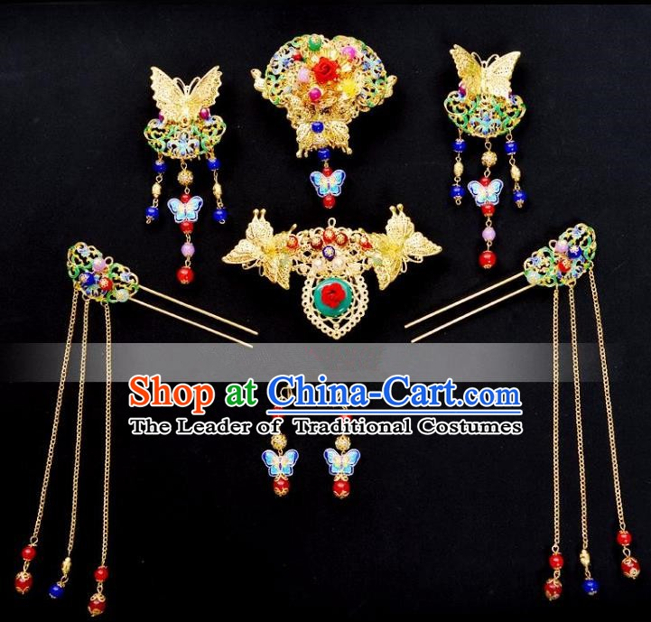 Traditional Handmade Chinese Classical Hair Accessories Bride Wedding Tassel Phoenix Coronet Xiuhe Suit Hairpins for Women
