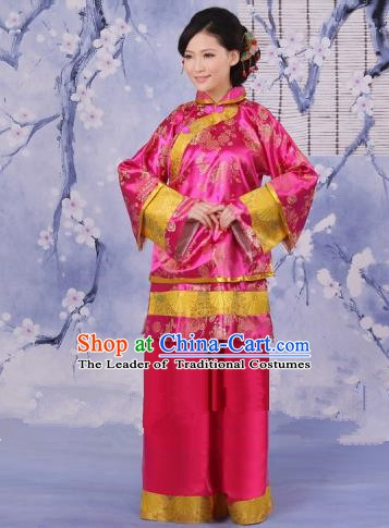 Traditional Chinese Republic of China Nobility Fairlady Costume, China Ancient Pink Xiuhe Suit Embroidered Clothing for Women