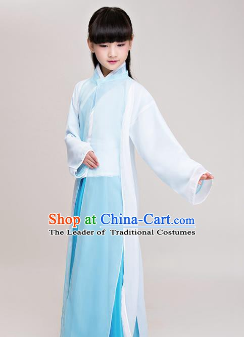 Traditional Chinese Han Dynasty Scholar Costume, China Ancient Palace Lady Clothing for Kids