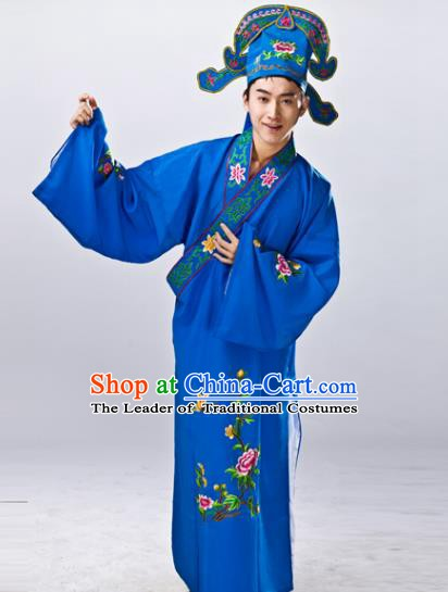 Traditional China Beijing Opera Costume Gifted Scholar Blue Embroidered Robe, Chinese Peking Opera Niche Embroidery Clothing
