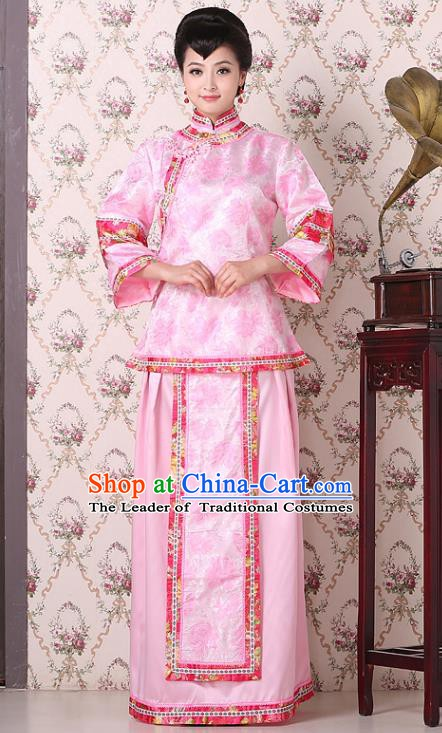 Traditional China Qing Dynasty Nobility Dowager Costume, Chinese Ancient Gentlewoman Embroidery Pink Xiuhe Suit Clothing