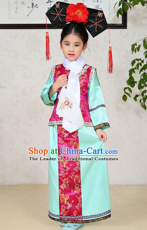Traditional Chinese Qing Dynasty Children Princess Green Costume, China Manchu Palace Lady Embroidered Clothing for Kids