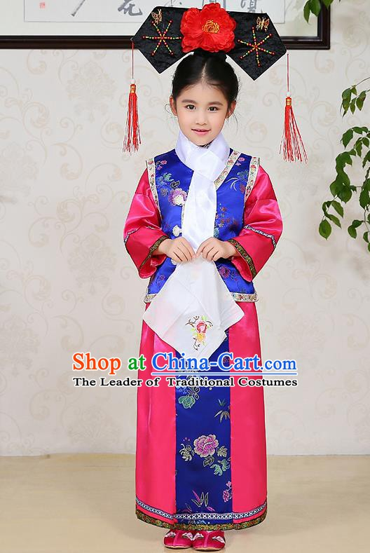 Traditional Chinese Qing Dynasty Children Princess Rosy Costume, China Manchu Palace Lady Embroidered Clothing for Kids