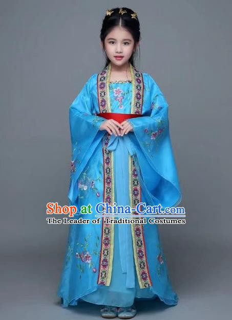 Traditional Chinese Tang Dynasty Palace Lady Blue Costume, China Ancient Imperial Concubine Hanfu Trailing Dress for Kids