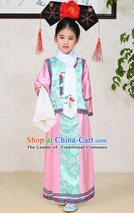 Traditional Chinese Qing Dynasty Princess Costume, China Manchu Palace Lady Embroidered Clothing for Kids