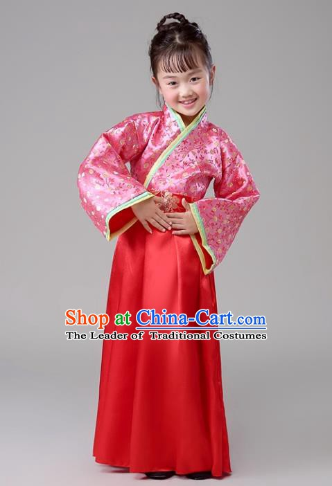 Traditional Chinese Han Dynasty Children Costume, China Ancient Princess Embroidered Clothing for Kids