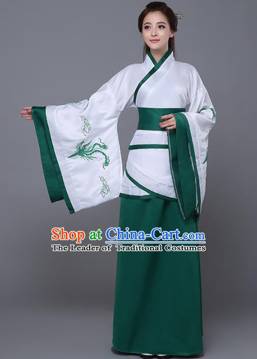 Traditional Chinese Han Dynasty Palace Lady Costume, China Ancient Princess Embroidered Hanfu Green Curving-front Robe for Women