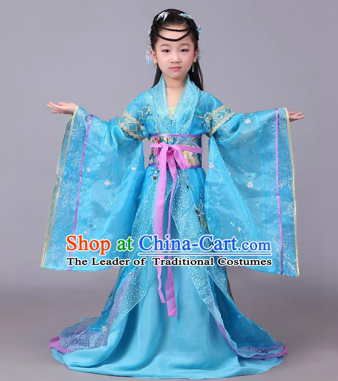 Traditional Chinese Tang Dynasty Palace Lady Costume, China Ancient Imperial Consort Embroidered Hanfu Clothing for Kids