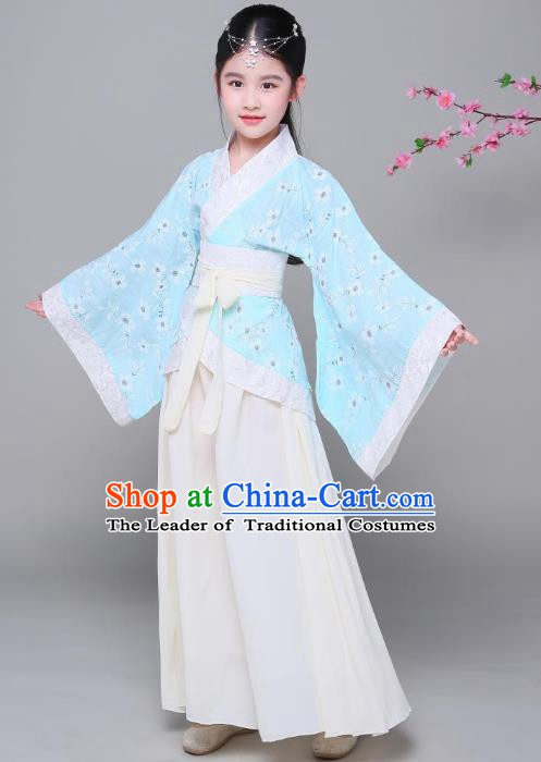Traditional Chinese Han Dynasty Children Costume, China Ancient Princess Hanfu Blue Curving-front Robe for Kids