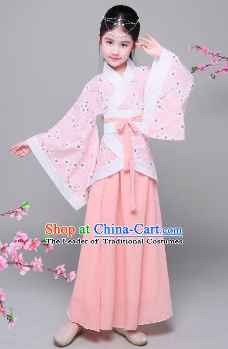 Traditional Chinese Han Dynasty Children Costume, China Ancient Princess Hanfu Pink Curving-front Robe for Kids