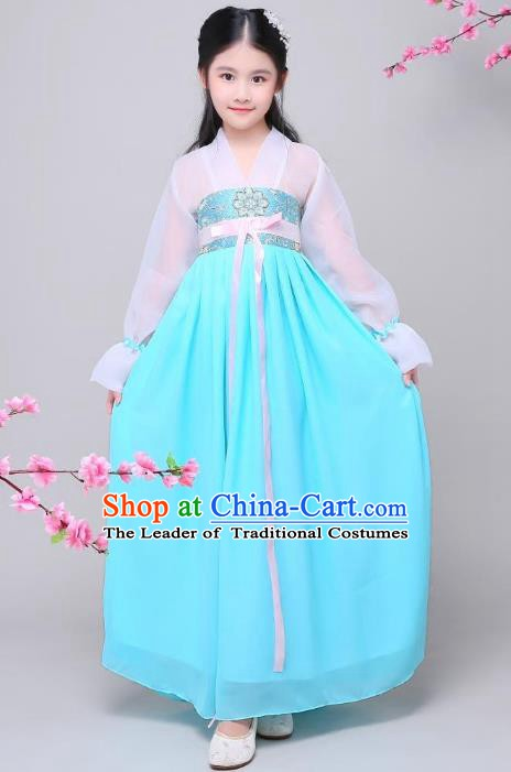 Traditional Chinese Tang Dynasty Palace Princess Costume, China Ancient Palace Lady Embroidered Clothing for Kids