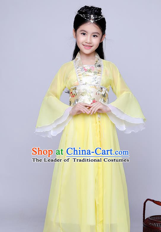 Traditional Chinese Tang Dynasty Seven Fairy Costume Ancient Princess Yellow Dress Clothing for Kids