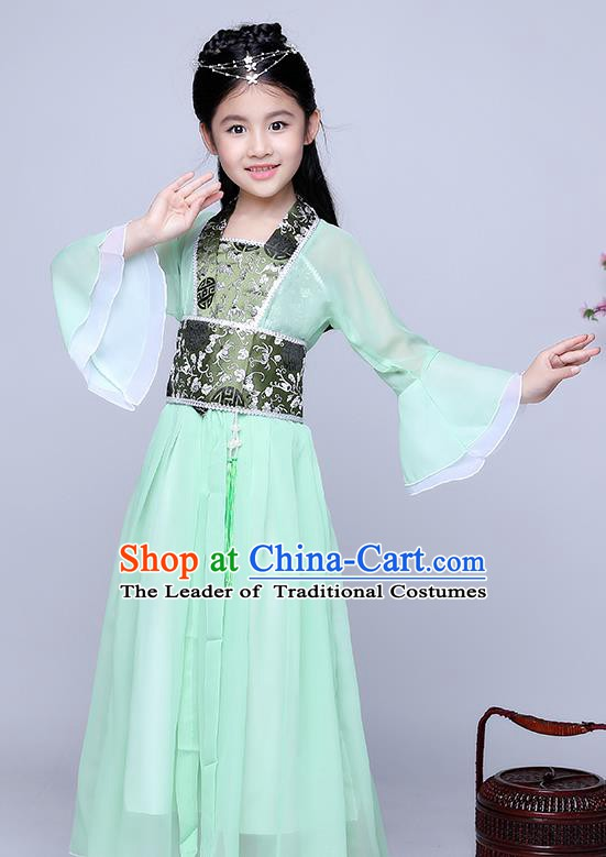 Traditional Chinese Tang Dynasty Seven Fairy Costume Ancient Princess Green Dress Clothing for Kids