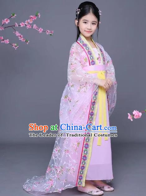 Traditional Chinese Tang Dynasty Imperial Consort Costume Ancient Hanfu Trailing Dress Clothing for Kids