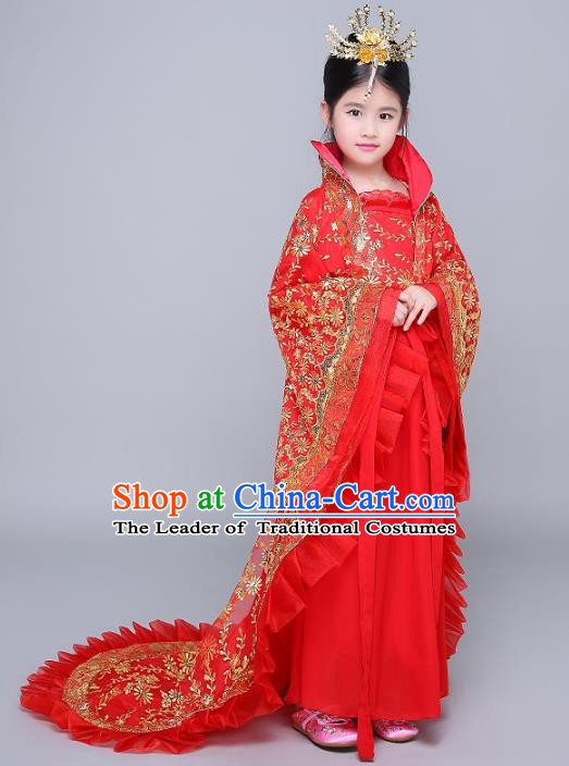 Traditional Chinese Tang Dynasty Imperial Consort Costume Ancient Palace Lady Hanfu Embroidered Dress Clothing for Kids