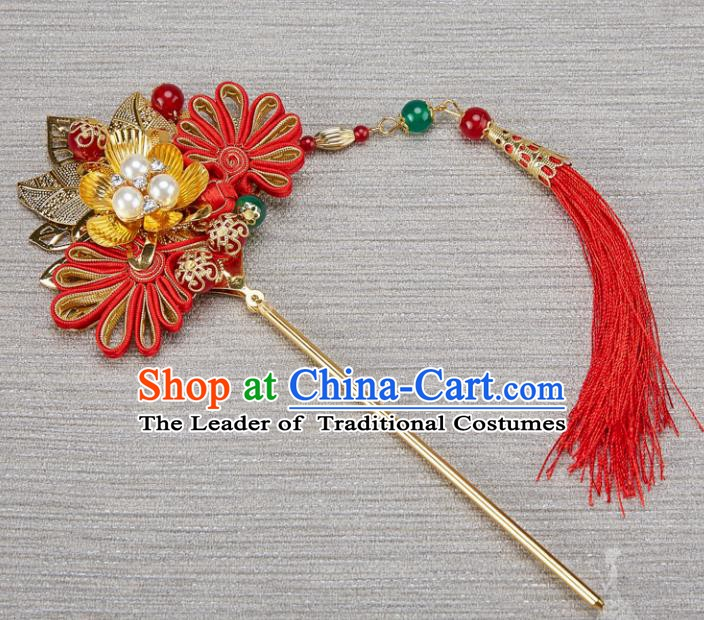Traditional Handmade Chinese Ancient Classical Hair Accessories Xiuhe Suit Hairpins Step Shake for Kids