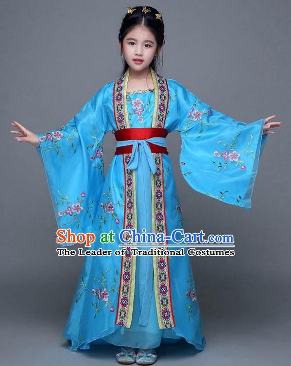 Traditional Chinese Ancient Imperial Consort Blue Costume, China Tang Dynasty Palace Princess Hanfu Embroidered Clothing for Kids