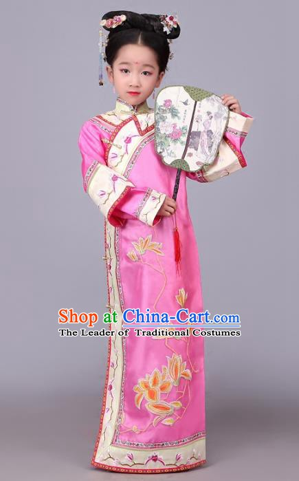 Traditional Chinese Qing Dynasty Princess Costume Pink Embroidered Dress, China Manchu Palace Lady Clothing for Kids
