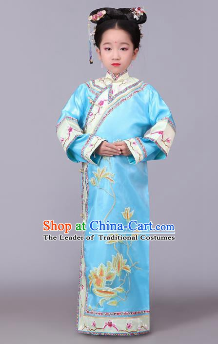 Traditional Chinese Qing Dynasty Princess Costume Blue Embroidered Dress, China Manchu Palace Lady Clothing for Kids