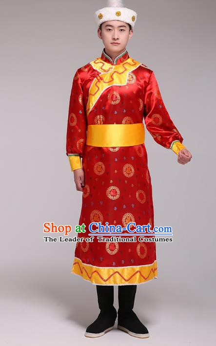 Traditional Chinese Mongol Nationality Dance Costume, Mongolian Minority Folk Dance Embroidery Red Mongolian Robe for Men