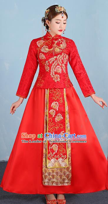 Ancient Chinese Wedding Costume Xiuhe Suits Traditional Women Embroidered Phoenix Peony Flown Bride Toast Cheongsam