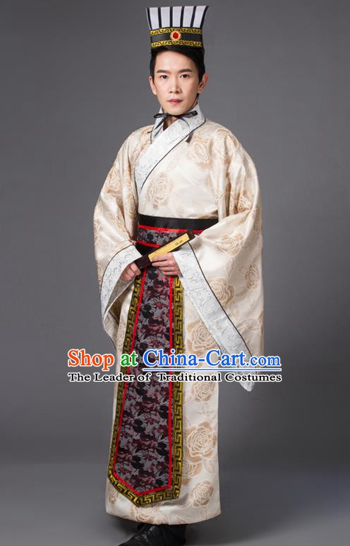 Traditional Chinese Han Dynasty Prime Minister Costume, China Ancient Chancellor Hanfu Printing Robe Clothing for Men