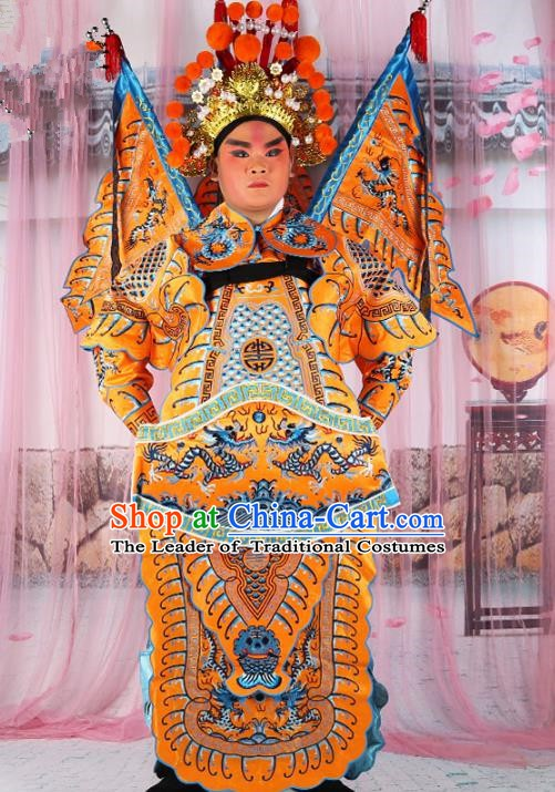 Chinese Beijing Opera General Costume Yellow Embroidered Robe, China Peking Opera Military Officer Embroidery Gwanbok Clothing