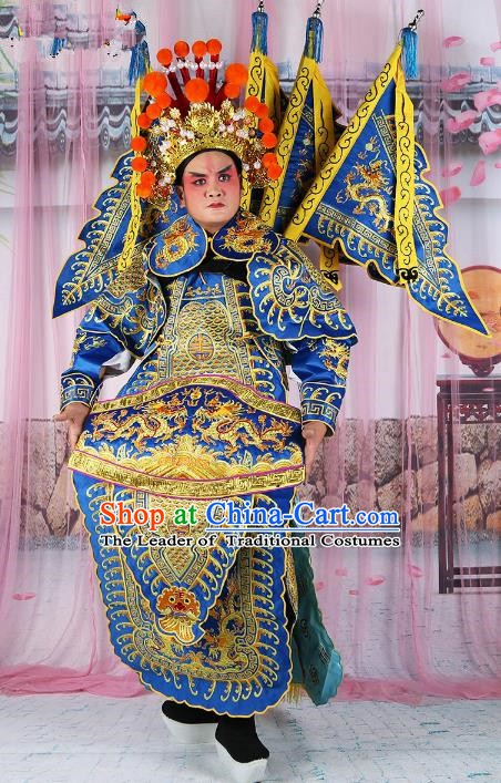 Chinese Beijing Opera General Costume Blue Embroidered Armour, China Peking Opera Military Officer Embroidery Gwanbok Clothing