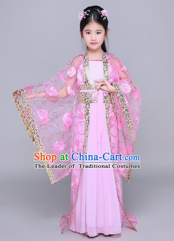 Traditional Chinese Tang Dynasty Fairy Palace Lady Costume, China Ancient Princess Hanfu Pink Dress Clothing for Kids