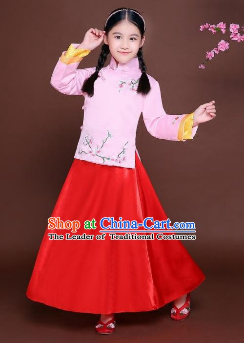 Traditional Chinese Republic of China Nobility Lady Clothing, China National Embroidered Peach Blossom Blouse and Skirt for Kids