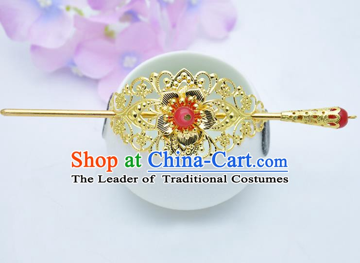 Traditional Handmade Chinese Classical Hair Accessories Hairpin Han Dynasty Nobility Childe Pink Bead Hairdo Crown for Men