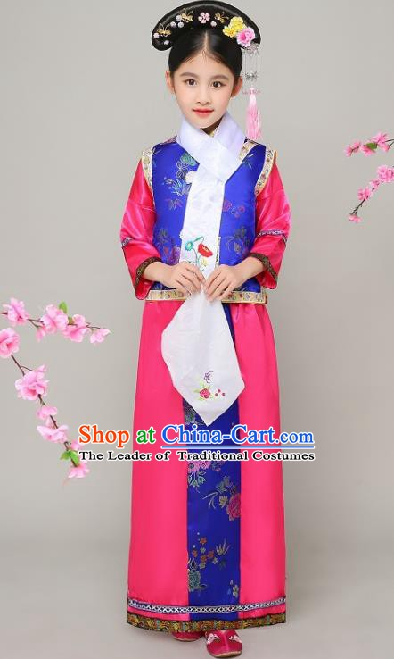 Traditional Chinese Qing Dynasty Court Princess Rosy Costume, China Manchu Palace Lady Embroidered Clothing for Kids