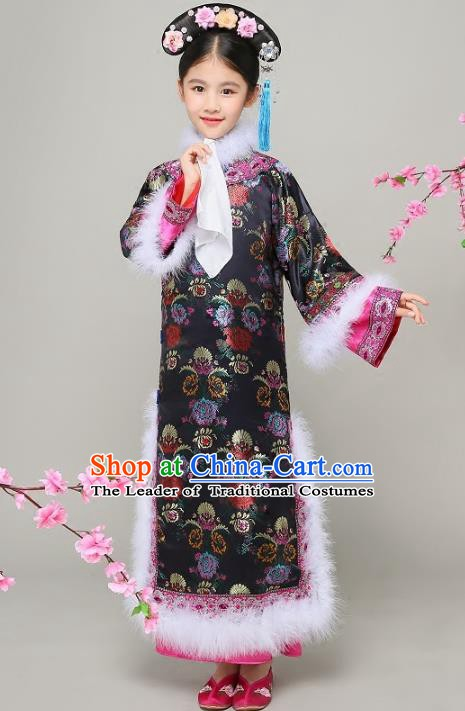 Traditional Chinese Qing Dynasty Court Princess Black Costume, China Manchu Palace Lady Qi-pao Clothing for Kids